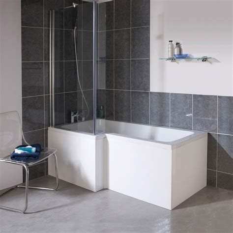 mm  shape square shower bath screen white left