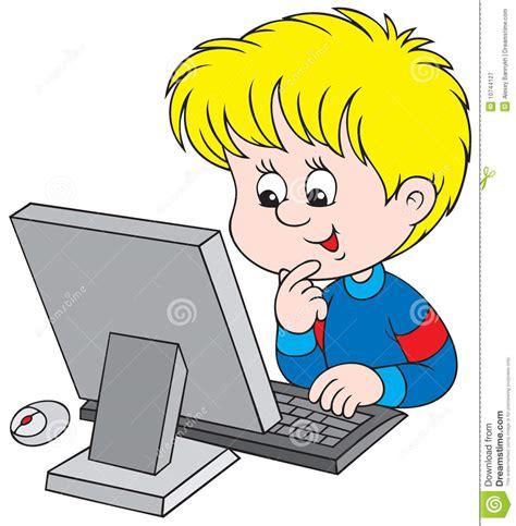am computer junge mit computer lizenzfreie stockfotografie bild