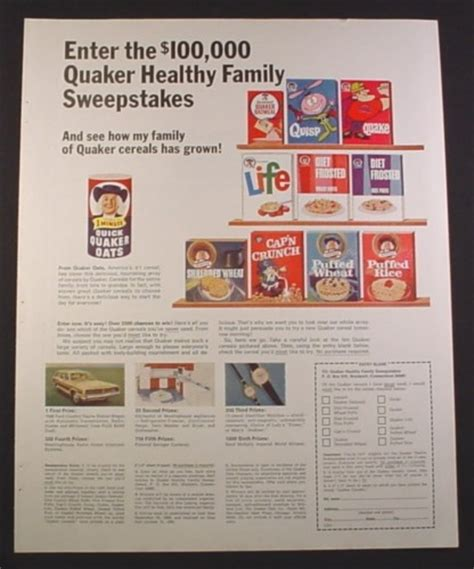 Sweepstakes Ad - magazine ad for quaker cereals sweepstakes quisp quake life cap n crunch 1968