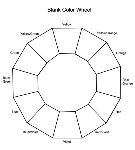 basic color wheel template blank color wheel cosmetology teaching ideas