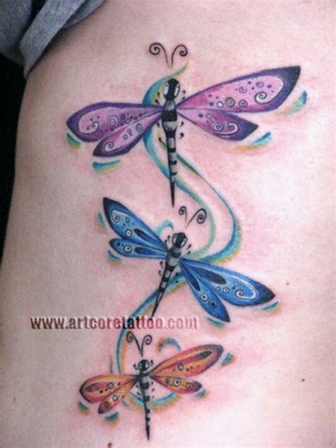 dragonfly tattoo on ribs purple and blue dragonfly tattoos on side rib