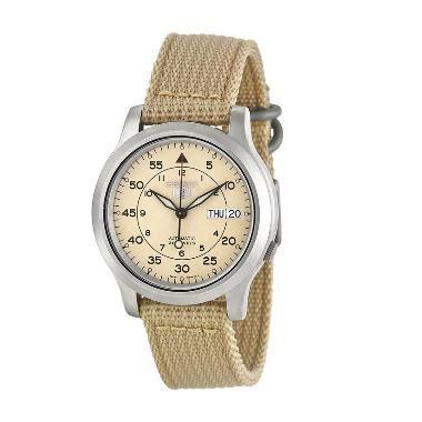 jual seiko snk803k2 5 automatic 21 jewels beige nilon jam tangan pria