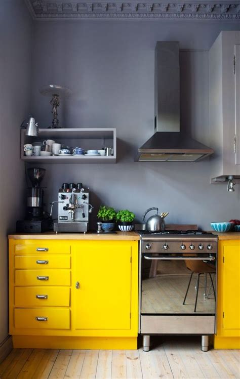 Yellow And Grey Kitchen by Gray Kitchen Walls And Yellow Cupboards Home Decorating