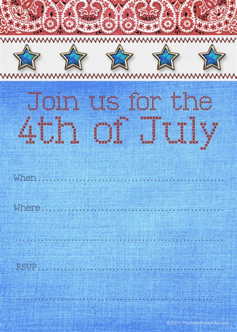 4th of july invitation templates free printable invitations fourth of july