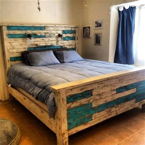 bed frame from pallets how to create a wooden pallet bed pallet idea