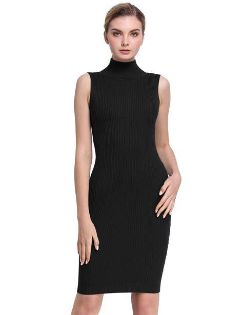 black knit turtleneck dress sleeveless turtleneck ribbed knit casual bodycon dress
