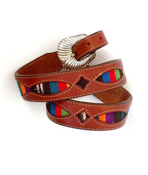 brown leather mexican blanket belt silver creek