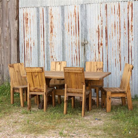pine trestle table  chairs