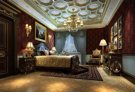 luxurious design luxury hotel bedroom chandeliers and wall design rendering