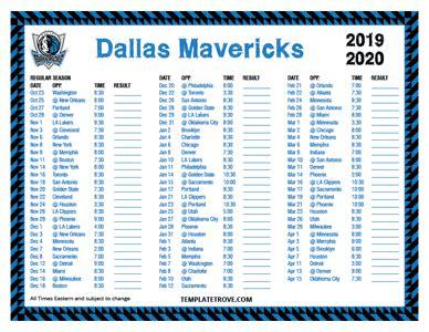 printable   dallas mavericks schedule
