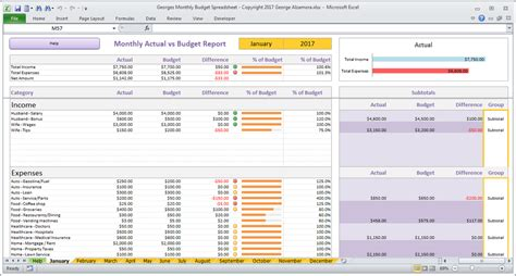 Monthly Budget Spreadsheet For Excel Buyexceltemplates Com Shopify Excel Template