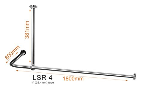 Shower Curtain Rail Ceiling Support by L Shaped Shower Curtain Rail Lsr4 Shower Curtain Rails