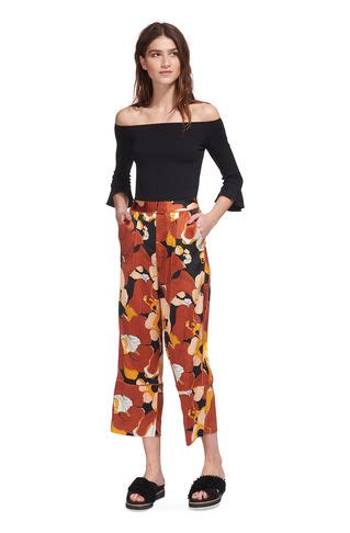 The Limited Abstract Floral Print Wide Leg s trousers cropped trousers wide leg trousers