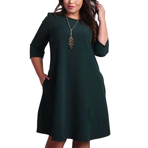 Office Dress Big Size l 6xl big size dresses office plus size casual autumn dress pockets green