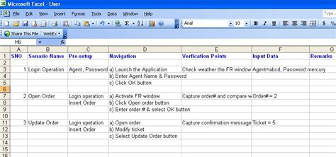 test scenario template automation framework software testing