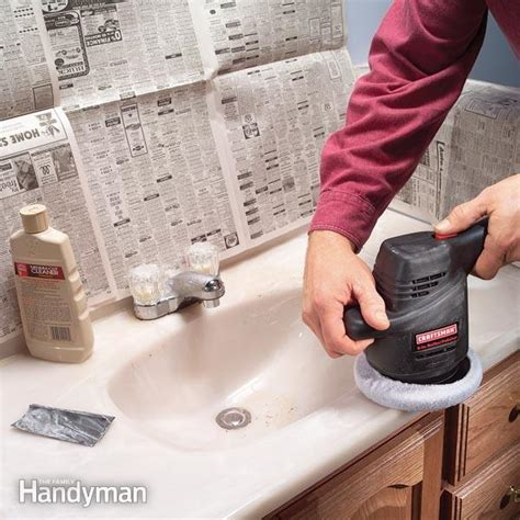 how to polish bathroom countertops how to renew a scratched countertop the family handyman