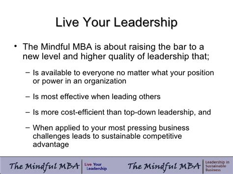 Most Cost Effective Mba by The Mindful Mba Leadership Development Study March