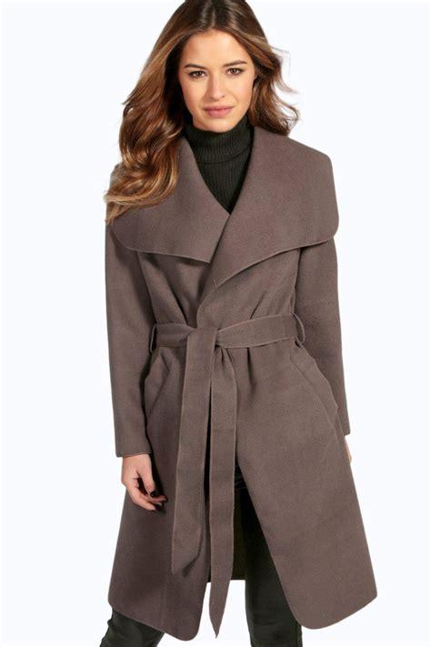 sinead belted shawl collar coat at boohoo