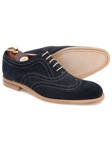loake oxford shoes loake fearnley navy suede oxford brogue shoes