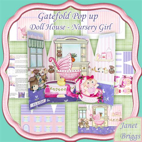 pop up doll house gatefold pop up doll house baby girl digital download 434al