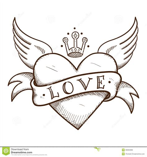 Delightful Graffiti Coloring Pages #5: Heart-banner-crown-sketch-vector-element-romantic-design-36994998.jpg