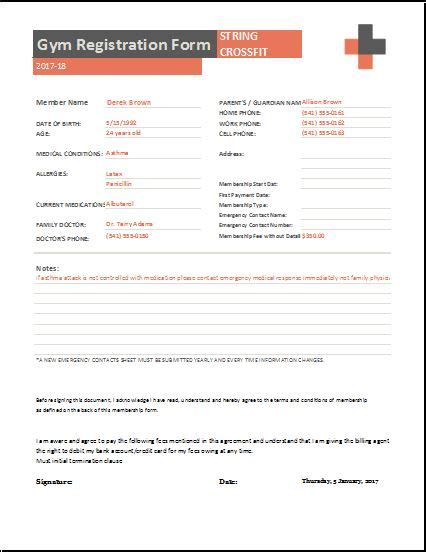 gym registration forms for ms word excel word excel