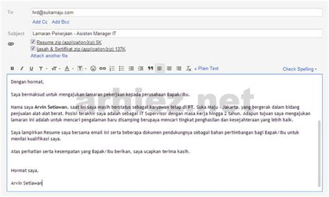 contoh surat lamaran kerja via email terbaru 2014