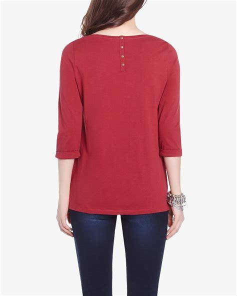 Sleeve Printed T Shirt 3 4 sleeve printed t shirt reitmans