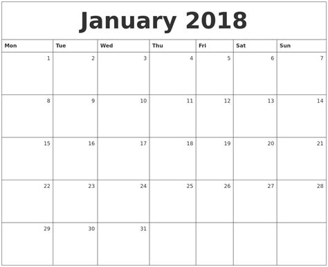 printable monthly calendar for january 2018 januari 2018