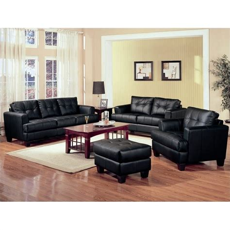 black leather sofa sets coaster samuel 3 piece leather sofa set in black 50168x