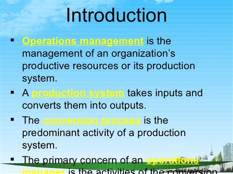 Executive Mba In Operations Management In India by Operations Management Ppt Bec Doms Bagalkot Mba