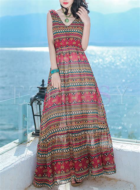 Ethnic Sleeveless Maxi Dress ethnic print v neck sleeveless maxi dress ezpopsy