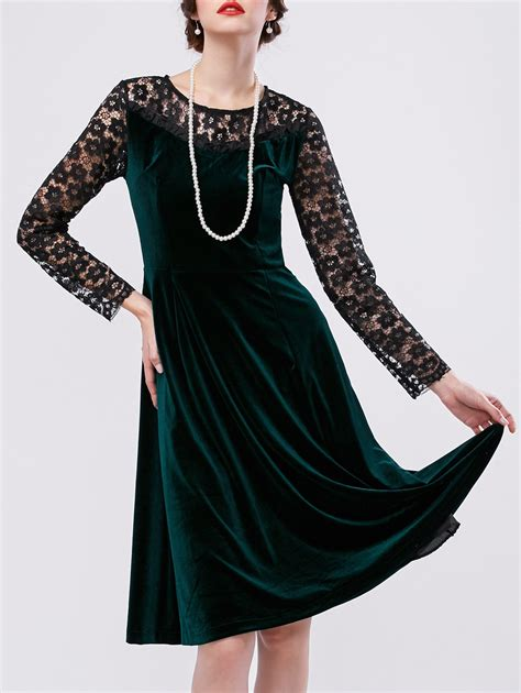 Panel A Line Dress lace panel velvet a line dress in green sammydress