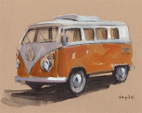hippie volkswagen drawing original painting vw bus hippie retro vintage auto kombi