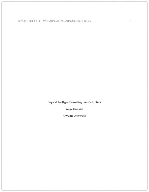Essay Title Page by Apa And Mla Documentation And Formatting