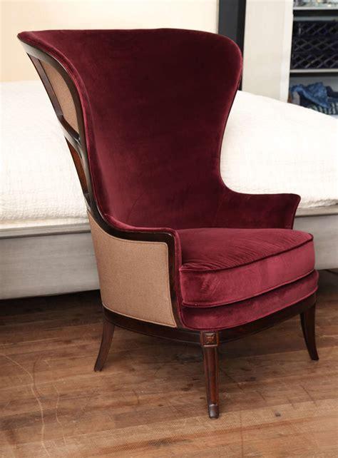 velvet wing back chair velvet wing chair circa 1930 image 2