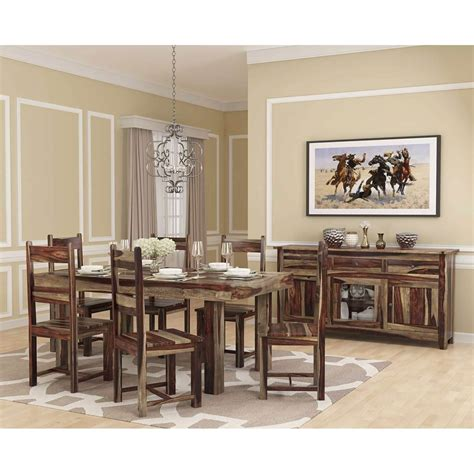 frisco modern handcrafted solid wood  piece dining room set