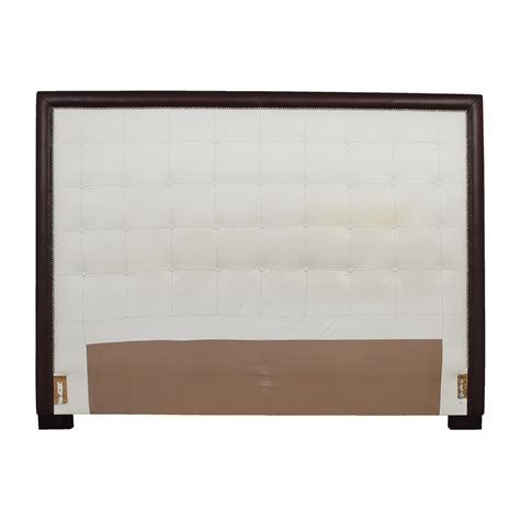 wooden king headboard 40 off custom white tufted leather nailhead and wood