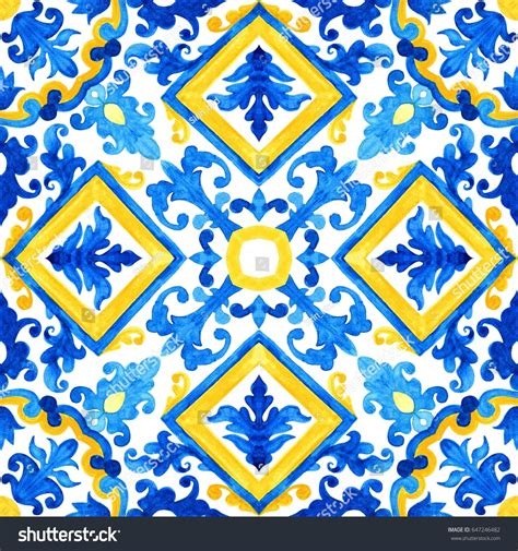 azulejo watercolor portuguese azulejo tiles watercolor seamless pattern stock