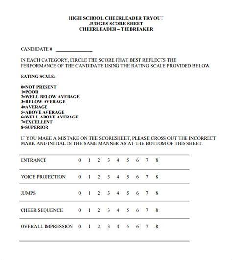 cheerleading tryout score sheet sle cheerleading tryout score sheet 4 documents in pdf
