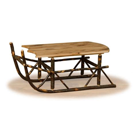 Sleigh Coffee Table Rustic Hickory And Oak