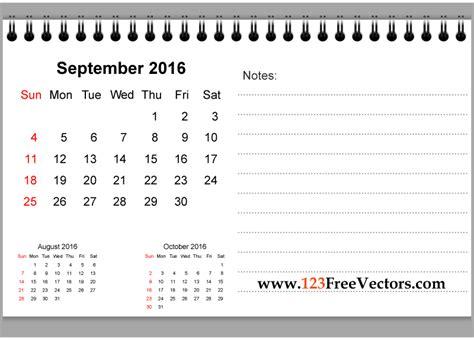 Calendar Notes September 2016 Printable Calendar With Notes By