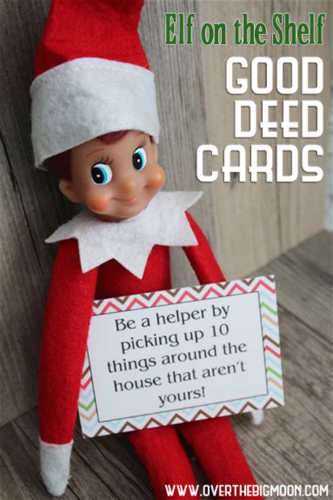 printable elf on the shelf playing cards elf on the shelf printable good deed cards over the big moon