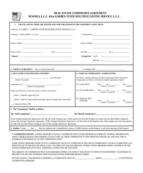 Sle Real Estate Agreement Form 8 Free Documents In Pdf Commission Split Agreement Template