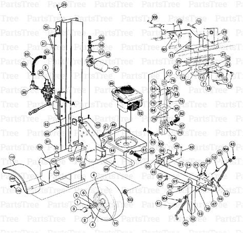 huskee log splitter parts diagram mtd 24aa550c118 yard machines log splitter 1998 sam s