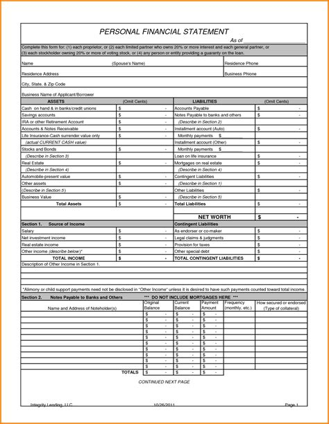sle personal financial statement template 100 llc financial statement template corporate