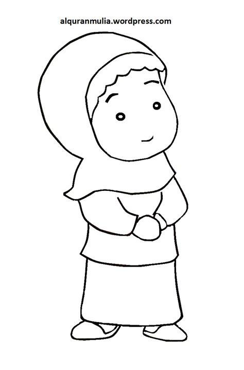 mewarnai gambar kartun anak muslimah 92 alqur anmulia