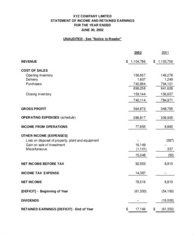 income statement for service company template