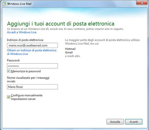 smtp net vodafone it porta configurazione posta elettronica su windows mail xp vista