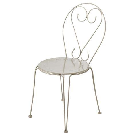 chaise en métal chaise de jardin en m 233 tal taupe maisons du monde